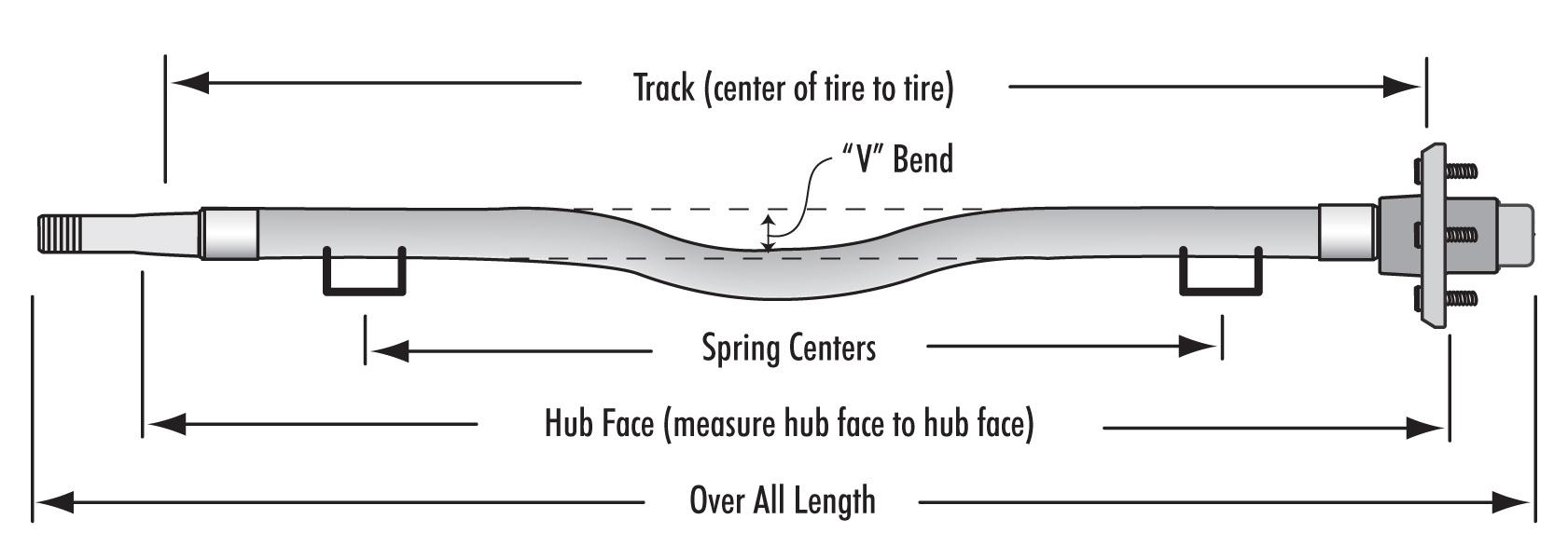 Axle 4200lb Spring Square Tube With V 72 U2033 U002675 U2033 Sc With 3 U2033 Center Drop