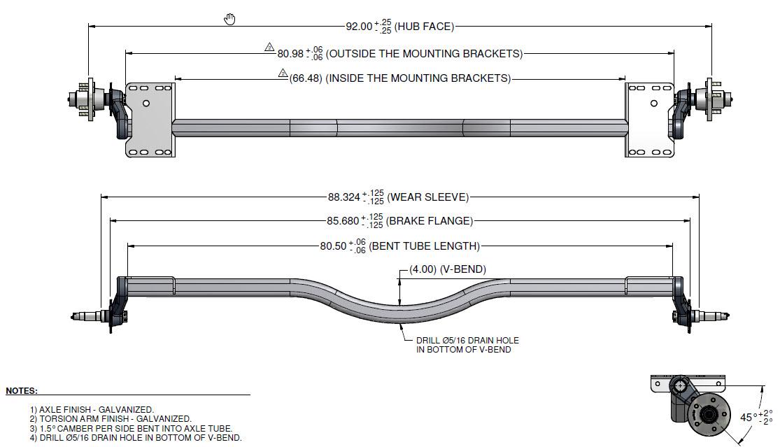 Axle 3750lb Torsion square tube with v-drop 92